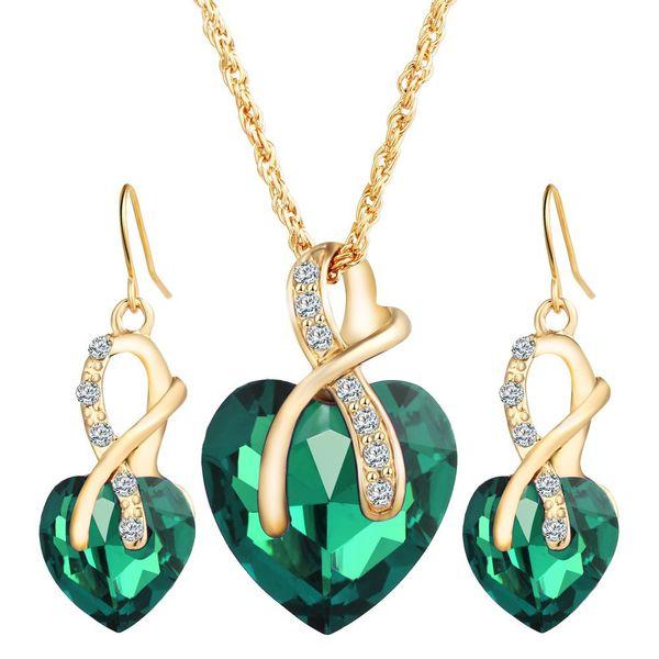 Herz Kristall Schmuck Sets für Frauen Engagement Braut Hochzeit Halskette Ohrringe Set Hohl Charm Strass Ohrring Gold Farbe