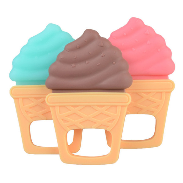 New Baby Toys Teether Comfort Bite Teether Safe Infants Teething Toys Ice Cream Shape Gum For Dental Care Teeth Glue