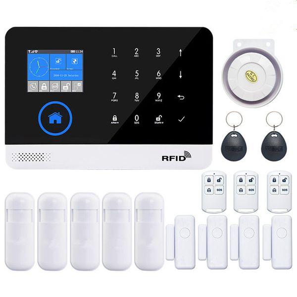Wireless Wifi GSM-Alarmanlage TFT-Display Türsensor Haussicherheit Alarmanlagen Wired Sirene Kit SIM SMS Alarm