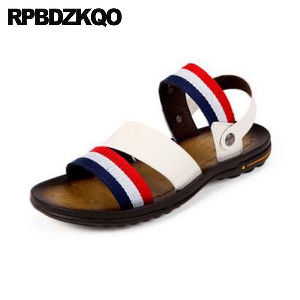 Pantofole per acquascivoli Pattini per passerelle impermeabili Slip on in pelle morbida Uomo Sandali a righe per uomo 2018 Summer Outdoor White