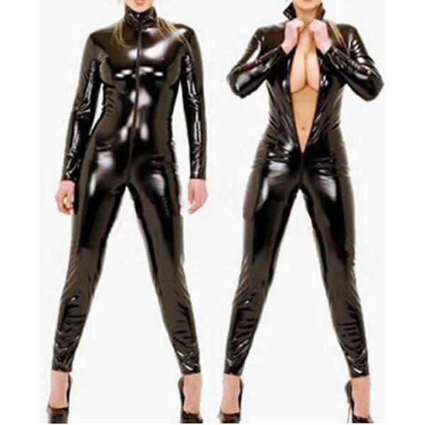 Plus Size S-6XL Sexy Lingerie Men Catsuit Faux Leather Front Zipper Crotch 2018 Bodysuit Fetish Costumes Erotic Lingerie