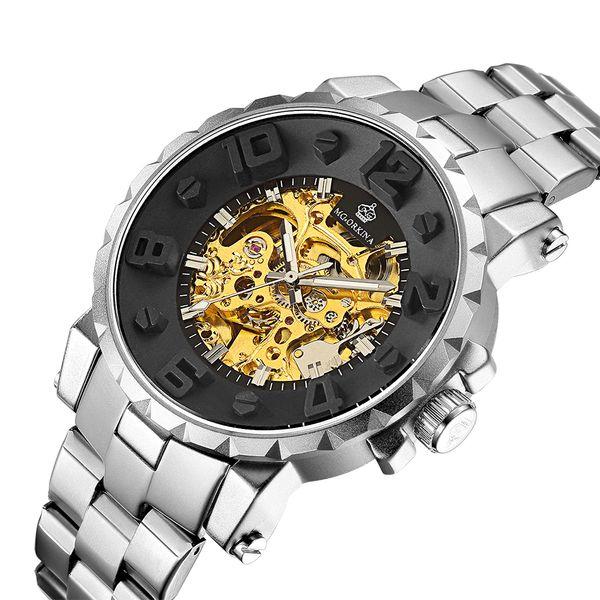 Relojes de diseñador Relojes para hombre Marca de lujo de lujo Esqueleto dorado Reloj mecánico automático Números flotantes Relogio masculino