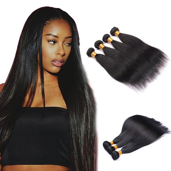 8A Sınıf Brezilyalı Düz İnsan Virgin Saç 3 Paket Doğal Renk 100% Işlenmemiş Düz İnsan Saç Boyalı ve ağartılmış Olabilir