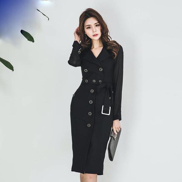 Trench-Coat Noir Automne Femmes Mode Bureau Long Mousseline De Soie Manches Col Rabattu Simple Poitrine Plus La Taille Solide Manteau