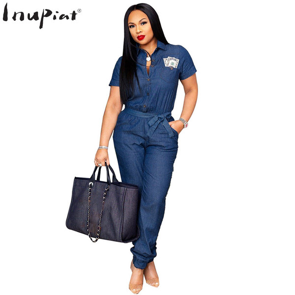 High Quality Denim Jumpsuits for Women Summer Autumn Casual Style Turn-down Collar Short Sleeves Long Pants Jumpsuit Plus Size