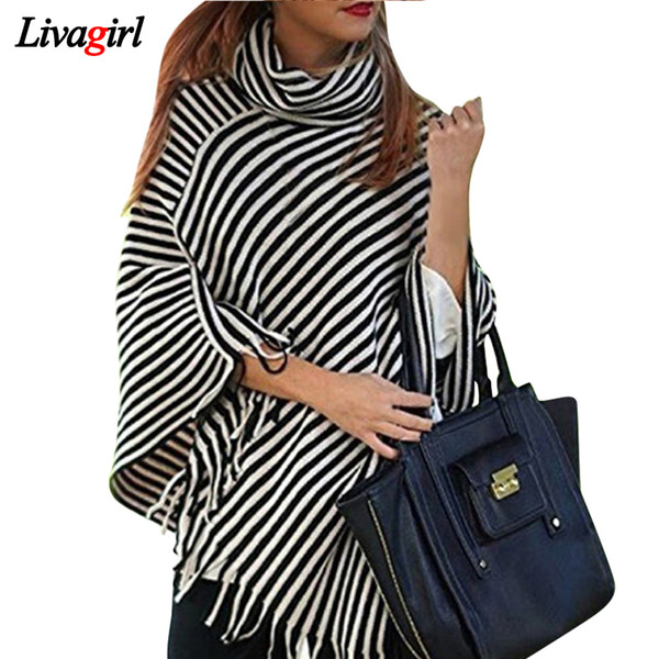 Hot Sale Tassel Ponchos Design Style Striped Scarf High Collar Pashmina For Women Scarves Top Quality Warm Winter Shawl Capes Y18102010