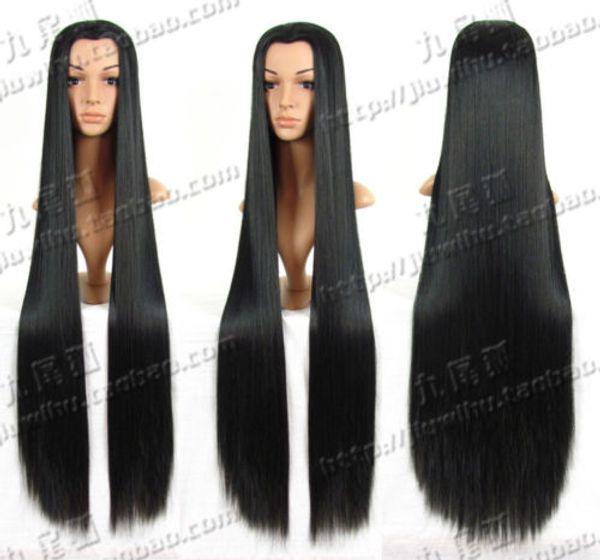 Онлайн 3 Костюм красоты совет длинные черные моды косплей парик 100 см / 120cmFree доставка новый высокое качество мода картина парик