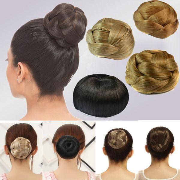 Women fashion BRAIDED CHIGNON hair bun synthetic hair extensions six styles