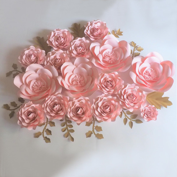 Baby Pink Giant Paper Flowers 16PCS + Gold Leaves 11PCS For Wedding & Event Backdrop Baby Nursery Baby Shower Fashion Show