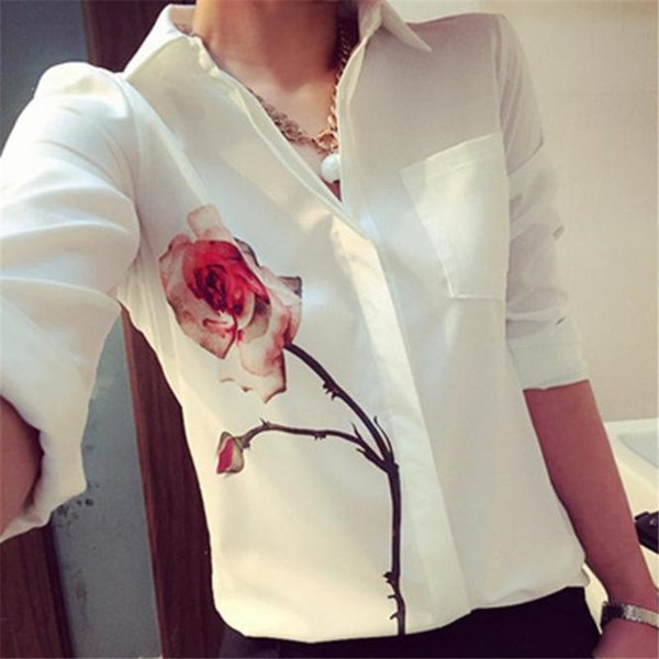 Spring Autumn Rose Flower printed long sleeve shirts back Feather Coats Women chiffon White shirt Blouse Tops more Female size
