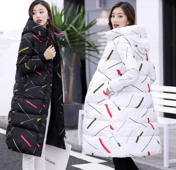 Mode nouveau design Hiver Femmes Print Jacket Long Down Veste Rembourré Manteau Vente Chaude Dames D'hiver Fille Long Chaud Épais Parka