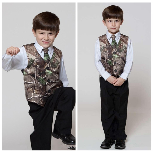2018 real tree camo boy's formal wear vests with ties camouflage groom boy vest satin custom formal wedding vests camouflage thumbnail