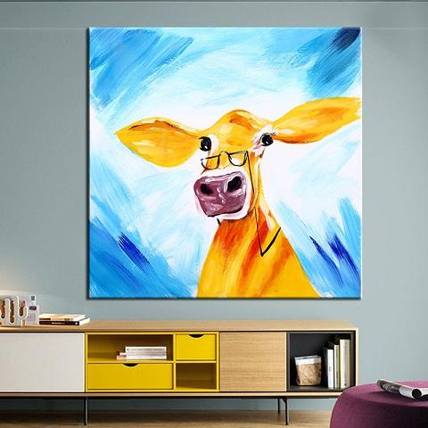 Hand-painted Abstract Animal Glass Funny Cow Oil Painting On High Quality Canvas Modern Home Decor Wall Art a118