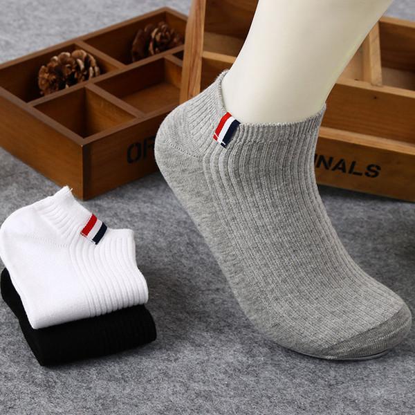 Al por mayor-Nuevos calcetines de los hombres del algodón de la manera del estilo Calcetines masculinos del verano de la parte baja del tobillo del corte calcetines cortos del vestido de los hombres