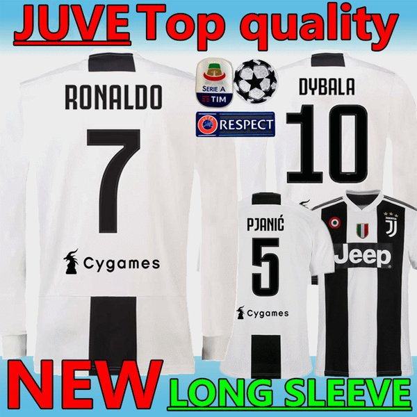 1ab5b01b0 New 18 19  7 RONALDO JUVENTUS Long sleeve Soccer Jerseys 2019 JUVE home  10  DYBALA MANDZUKIC CRISTIANO Thai top quality gray Football Shirt