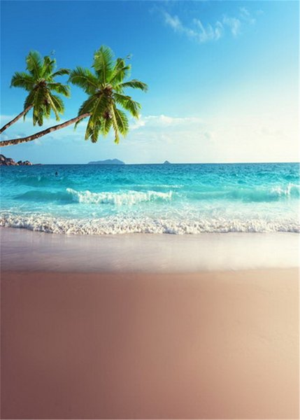 Beach Themed Photography Backdrops Printed Palm Tree Blue Sky Waves Summer Holiday Kids Wedding Seaside Photo Shoot Backgrounds for Studio