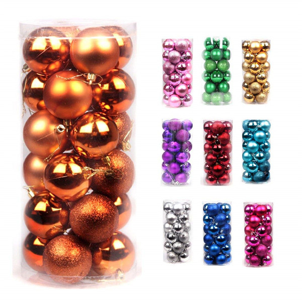 24pcs lot Christmas Tree Decor Ball Bauble Shatterproof Christmas Tree Ornaments Pendants for Holiday Wedding Party Decoration