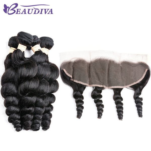 Beau Diva Peruvian Virgin 100% Human Hair 4 Bundles With 13*4 Lace Closure Loose Wave Virgin 100% Human Hair Free Shipping