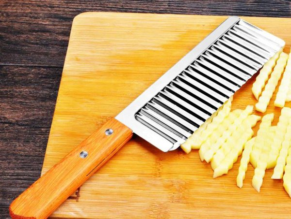 Curly Spiral French Fry Potato Cutter Crinkle Knife Stainless Steel Fruit Vegetable Slicer Cutting Tool Wood Handle Chips Salad