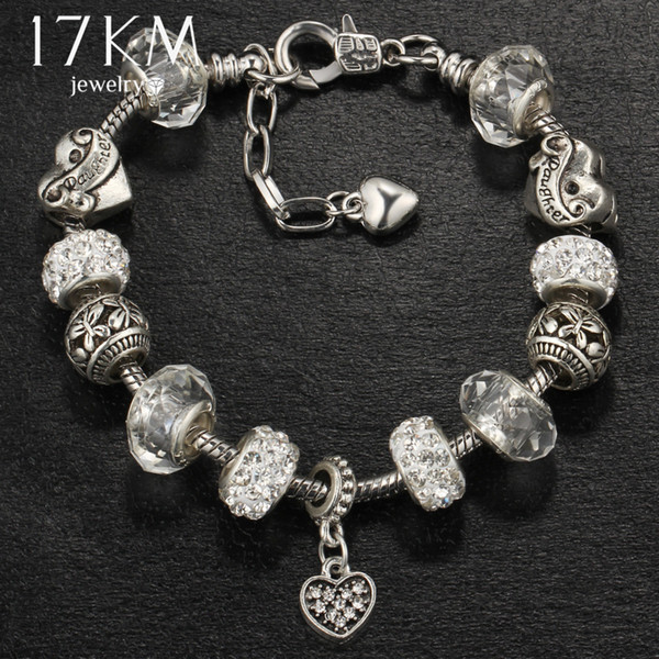 17KM Vintage Beads Charm Bracelet & Bangle For Women 4 Color Crystal Femme Bracelets With Love Heart Wedding Party Jewelry Gift