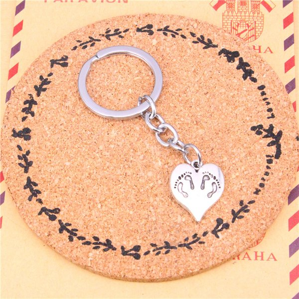 Keychain heart foot Pendants DIY Men Jewelry Car Key Chain Ring Holder Souvenir For Gift