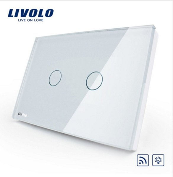 Livolo US/AU standard 2gang Wireless Dimmer Remote Light Switch,AC 110~250V,White Glass Panel, VL-C302DR-81,No remote controller