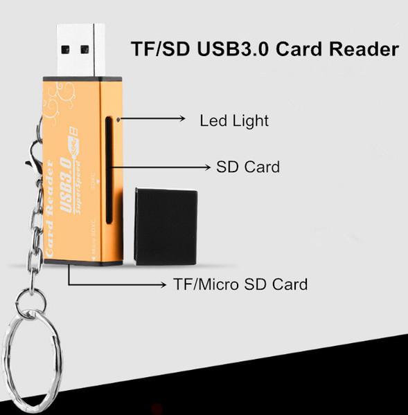 Alta velocidad 2 en 1 USB 3.0 adaptador de lector de tarjeta SD TF adaptador de computadora portátil para Micro TF tarjeta de memoria flash