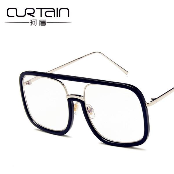 TENDINA 2018 Classic Retro Large Square Glasses Women Specchio piatto trasparente Versione coreana della tendenza di occhiali personalizzati