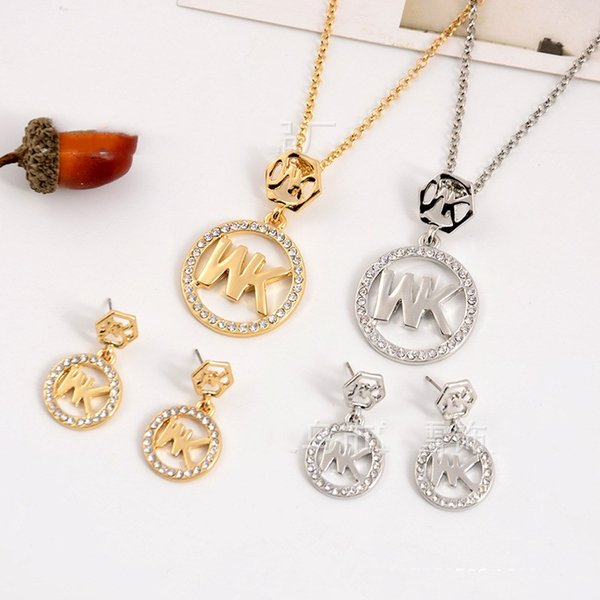 2018 Europe and the United States big gold M letter hexagonal diamond necklace pendant earrings jewelry two pieces jewelry set