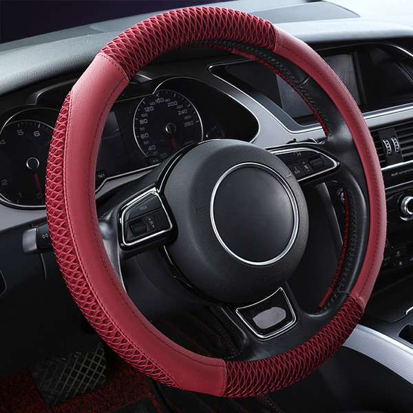 Remarkable Summer 38Cm Universal Car Steering Wheel Cover Leather Ice Silk Patchwork Breathable Auto Steering Cover For Volkswagen Toyota Fleece Steering Wheel Machost Co Dining Chair Design Ideas Machostcouk