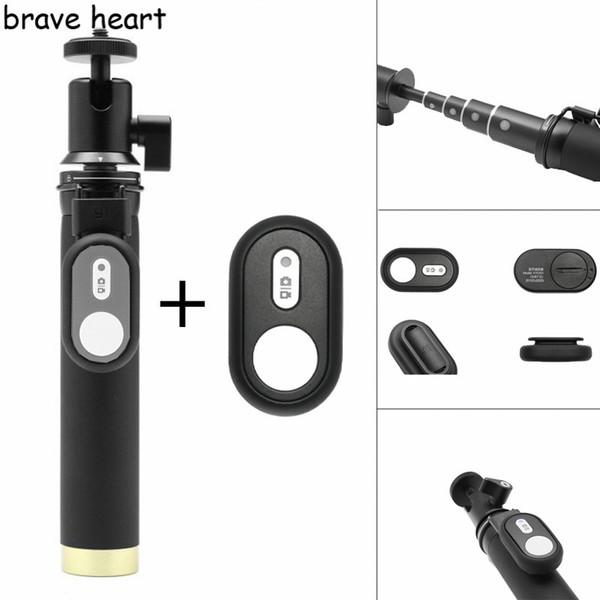 Cesur kalp su geçirmez kılıf çanta + Uzatılabilir Monopod tripod xiaomi yi 4 K 2 II Xiaoyi eylem için selfie sopa kamera aksesuarları