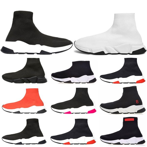 2019 designer Speed Trainer Luxury Brand Shoes black white red Flat Fashion Socks Boots Sneakers fashion Trainers Runner size 36-45