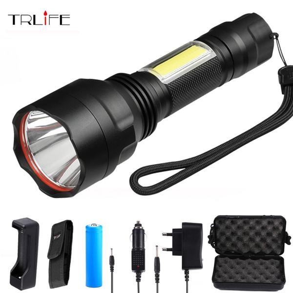 5000 lums c8 led taschenlampe xml t6 cob taschenlampen 4 modi taschenlampen für camping reiten von 18650 batterie