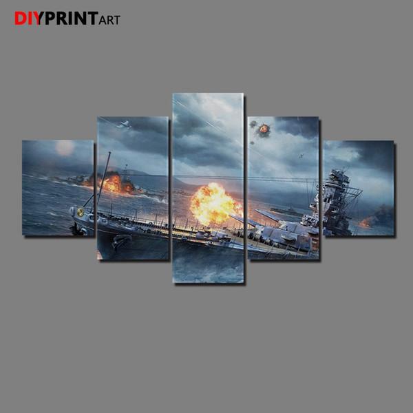 World of Warships Sparks 5 Panel Impresión en lienzo Pintura Mural para sala de estar A1196