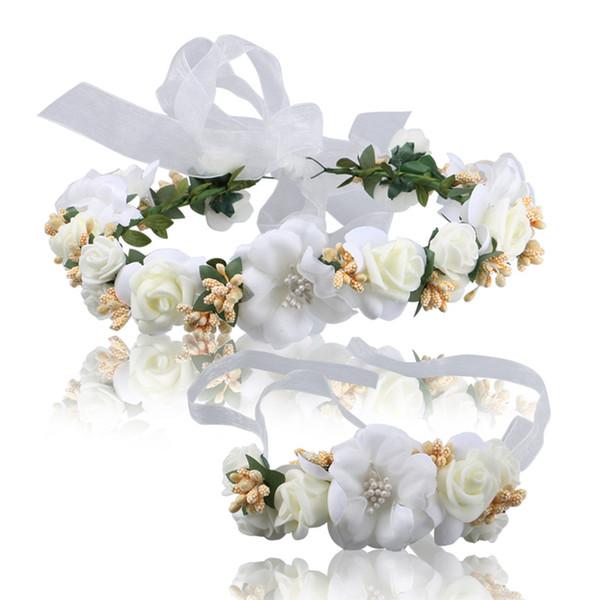 Yapay Gelin Plaj Plaj Düğün Için Beyaz Saç Çiçekler ve Bilek Gelin Nedime Gelinler Için şık kafa Gelinlik Stüdyo