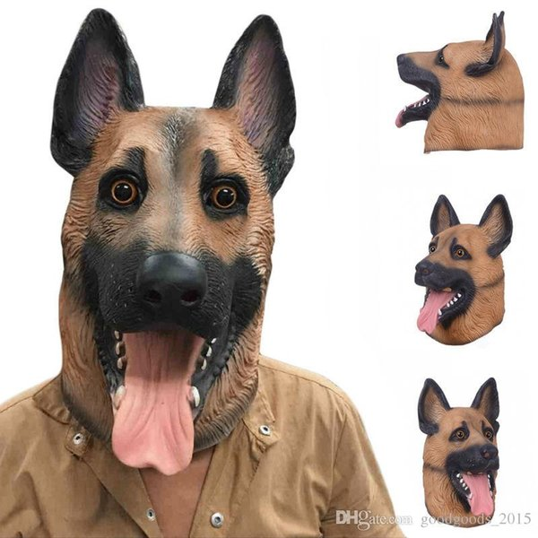 Dog Head Latex Mask Full Face Adult Mask Breathable Halloween Masquerade Fancy Dress Party Cosplay Costume Lovely Animal Mask c477