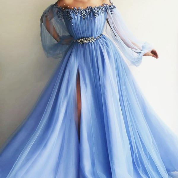 Off The Shoulder Evening Dresses 2018 Puff Sleeves Appliques Beaded Tulle Satin Split Side Floor Length Light Sky Blue Lavender Prom Dresses