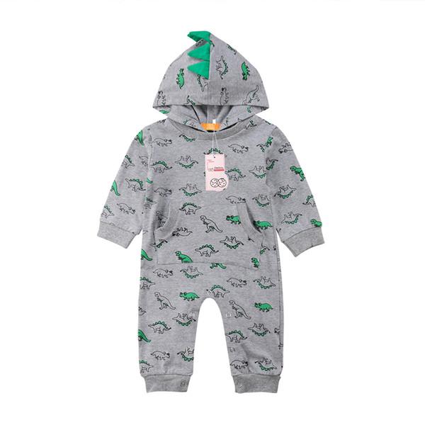 Kleinkind Baby Jungen Mädchen Kapuze Strampler Overall Dinosaurier Outfit Kostüm