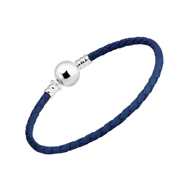 Dark Blue Leather Bracelet 100% 925 Sterling Silver Ball Clasp Bracelets for Women Fit Charm Beads Diy Fine Jewelry PLE710