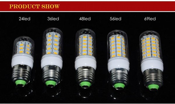 Brand New SMD5730 E27 GU10 B22 E14 G9 LED lamp 7W 12W 15W 18W 220V 110V 360 angle SMD LED Bulb Corn light 24LED cheap lamps LB001 Best sell