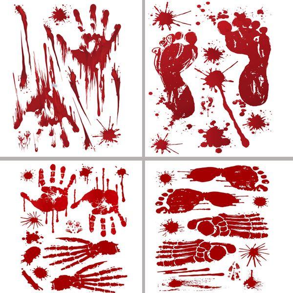 2018 Halloween Wall Stickers Horror Door Sticker Window Pumpkin Footprints Blood Handprint Stickers Halloween Decor Wholesale