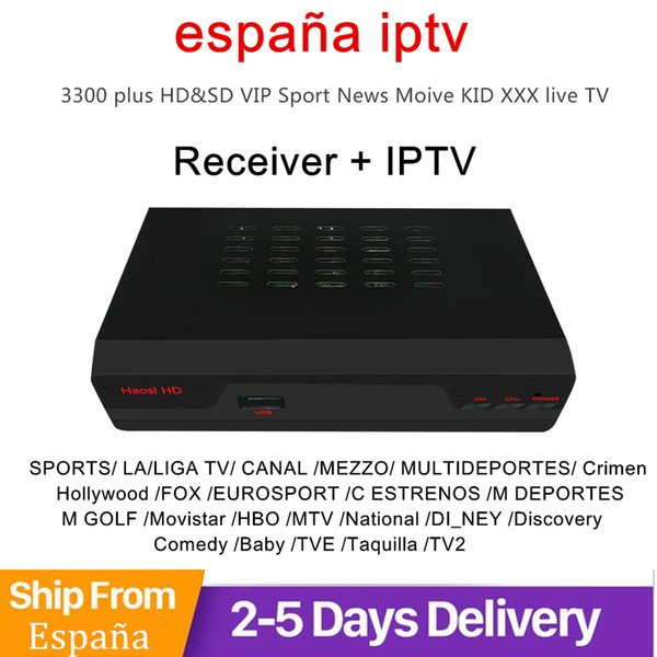 HAOSIHD iptv spain+ccam 1 year dvb s2 iptv receiver free global spain with 1 year iptv subscription adult media player
