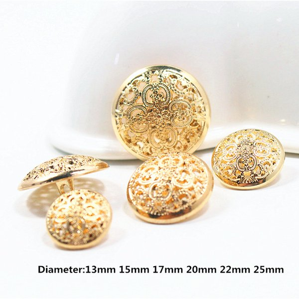 gold mix hollow diameter of 13mm-25mm gold buttons, clothing accessories, shirt, coat buttons,w9 10PCS