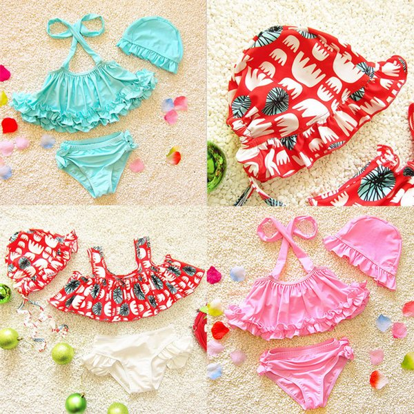 2018 Hot Korean Style Children Bikini Set Two-Pieces Bathing Suit With Hat Baby Girls Candy Color Swimwear S/M/L/XL/XXL