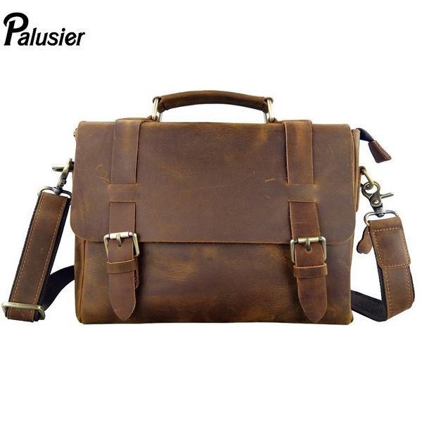 Retro Men Briefcase Business Bolso clásico de cuero genuino Tote hombro masculino Messenger Bag