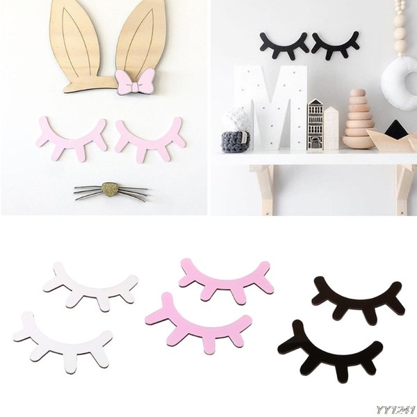 Wooden Eyelash Wall Sticker 6 Colors 15*10cm Cute 3D Closed Eye DIY Home Decor For Kids Room 200pcs OOA5854