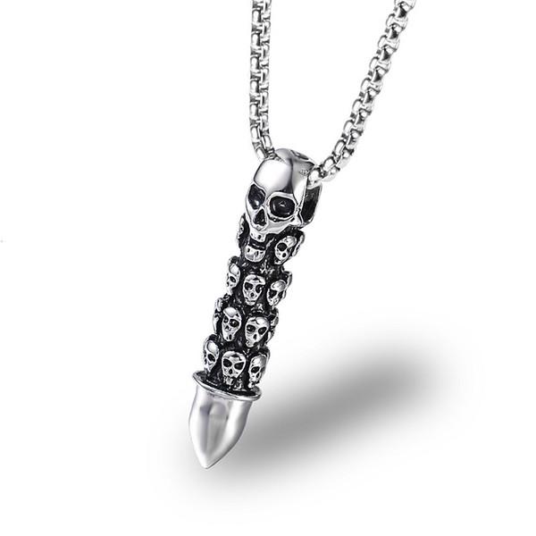 Mode Männer Skeleton Kugel Anhänger Hip Hop Kette Edelstahl Lange Halskette Schädel Zubehör Personalisierte Design Punk Schmuck Für Männer