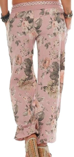 Women's Wide Leg Loose Fit Mid Waist Floral Casual Jogger Palazzo Pants