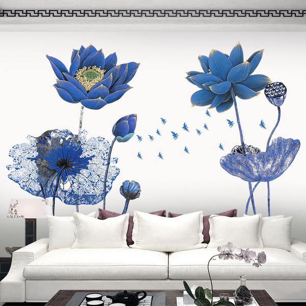 Affiche Vintage Bleu Lotus Fleur 3D Papier Peint Stickers Muraux Style Chinois Bricolage Creative Salon Chambre Décor À La Maison Art