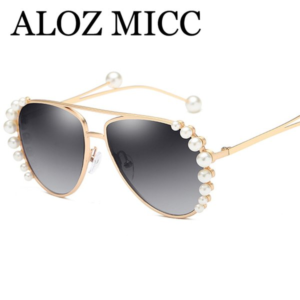 6dba1351987 ALOZ MICC Ladie Big Pearl Pilot Sunglasses Women Brand Designer Elegant Sun Glasses  Female High Quality Metal Eyewear UV400 A590